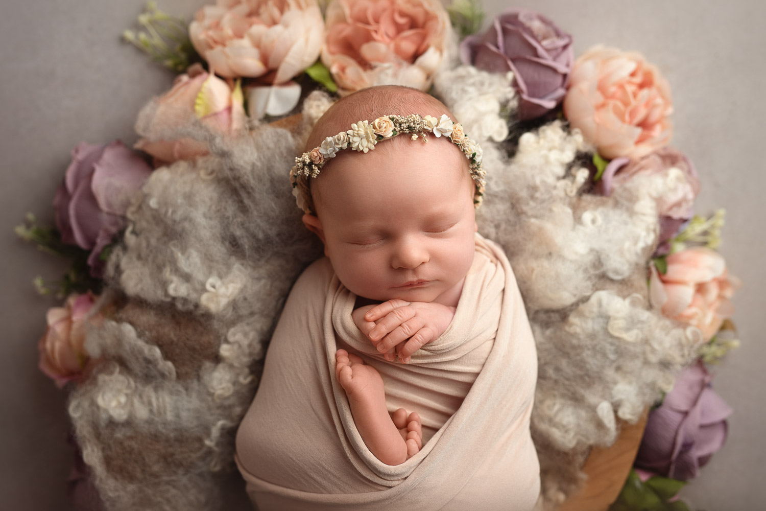 flower theme baby photo by auckland newborn photographer siobhan kelly photography